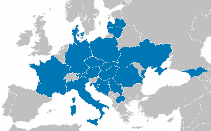 Map of Europe with the members of SAMARITAN INTERNATIONAL