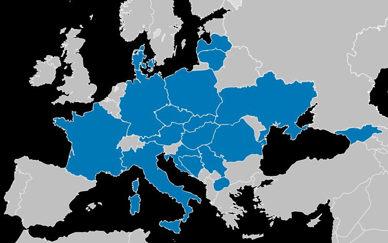 Europakarte mit den Mitgliedern von SAMARITAN INTERNATIONAL