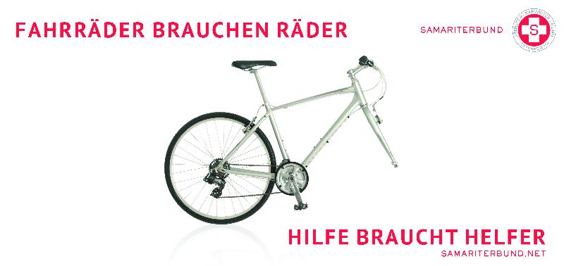 """Kampagnenmotiv des ASBÖ - """"Fahrräder brauchen Räder - Hilfe braucht Helfer"""""""